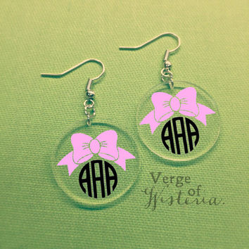 Customized Bow Monogram Earrings Acrylic Dangle Jewelry Monogrammed Personalized Custom