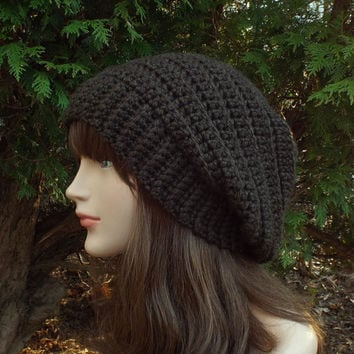 Coffee Brown Slouchy Crochet Hat - Womens Slouch Beanie - Ladies Oversized Ribbed Cap - Chunky Hat