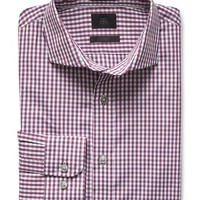 Banana Republic Mens Monogram Italian Woven Burgundy Gingham Shirt