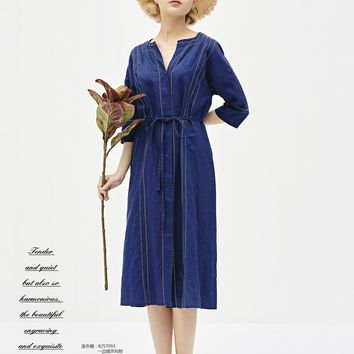 Cobalt blue 3/4 sleeve embroiders linen dress