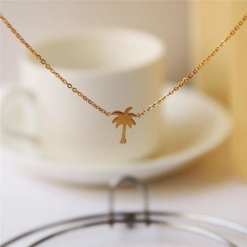 CREYON Boho Choker Gold Palm Tree Necklace Pendant Collier Femme Stainless Steel Chain Necklace For Women Island Life Bff Jewelry