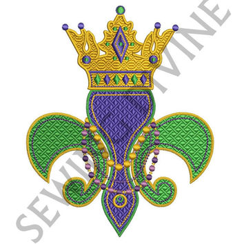 MARDI GRAS EMBROIDERY Design Royal Fleur de lis 4x4 5x7 8x10 Instant Download Beads and Crown