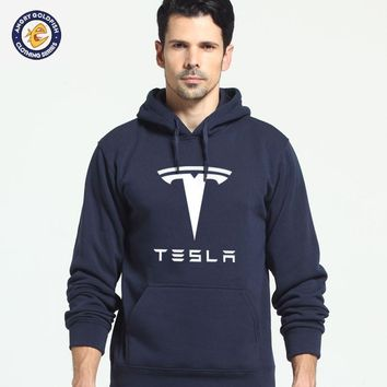 Tesla Men Hooded Hoodie Fleece Jacket Coat  Suit Casual Fashion Men's Clothing