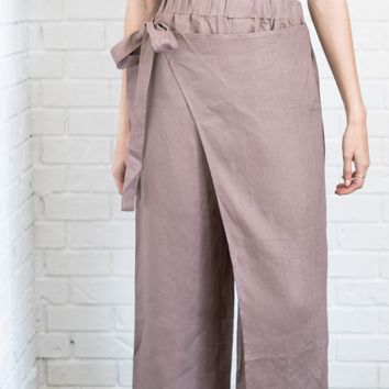 Mocha Side Tie Pants
