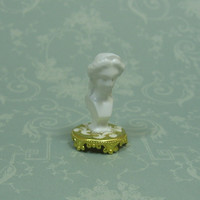 Dollhouse Miniature White Lady Bust Figurine with White Scrolls