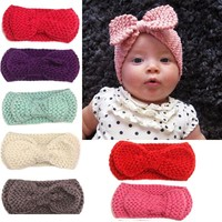 Newborn Mul-color Baby Kids Ear Warmer Hairband Bow Knot Headwrap Girls Crochet Turban Headband Knitted Hair Band Accessories