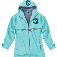 Monogrammed Rain Jacket - Aqua - Monogram Embroidered In 2 Positions - Aqua Rain Jacket