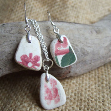 Scottish sea pottery necklace earring set, sterling silver and pottery jewelry set, necklace and earring set, red and green floral necklace