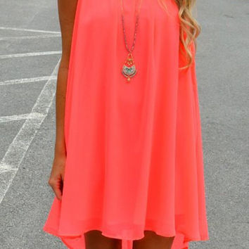 Cut Out Spaghetti Strap Chiffon Dress