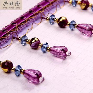 XWL 12M/Lot Crystal Beads Lace Decor Curtain Lace Accessories For Drapery DIY Sewing Tassel Fringes Trim Ribbons DIY Home Decor