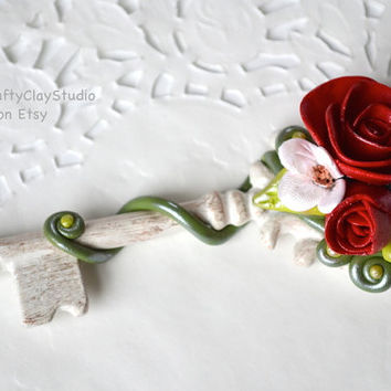 Bridesmaid Gift - Wedding Gift - Wedding Favor - Anniversary Gift - Polymer Clay Flower - Polymer Clay Decor - Key Decor - Spring Decor