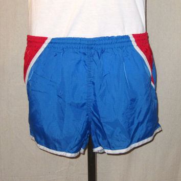 Vintage 80s JORDACHE SURF BEACH Amazing Small Medium Swim Hip Rad Bright Blue Nylon Lined Athletic Shorts