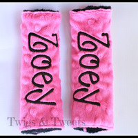Personalized Car Seat Strap Covers- YOU CHOOSE COLORS- Hot Pink and Black Minky Includeds name on both straps