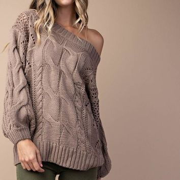 Cable Knit Puff Sleeves Sweater - Mocha Latte