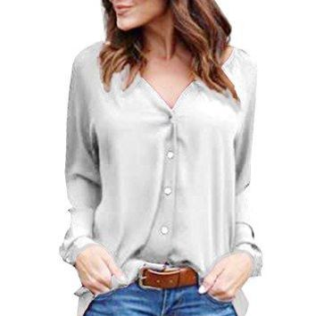 Flying Rabbit Womens Chiffon Cuffed Long Sleeve Button Down Shirts Casual V Neck Blouses Tops