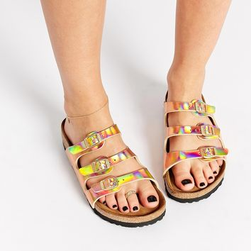 Birkenstock Florida Triple Strap Copper Slider Flat Sandals