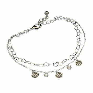 Women's Charm Bracelet Swarovski Element Tennis Bangle Crystal Jewelry for Woman Aluminum Plated