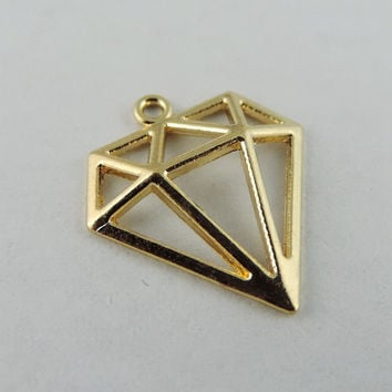 40pcs/pack Rose Gold Plated Hollow Triangle Alloy Charms Necklace Pendant  Women Charms jewelry findings Handmade Crafts 38930