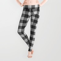Sleepy Black and White Plaid Leggings by RichCaspian