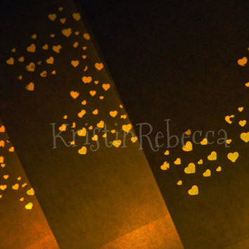 Luminary Paper Bags with Lights 20 Glowing Hearts Wedding Decor