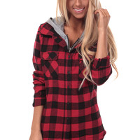 Red Plaid Flannel Jacket