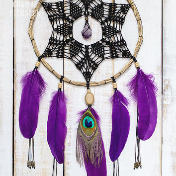 "Black doily dream catcher with raw amethyst crystal - Crochet bohemian wall decor - Purle Dreamcatcher 9"" - Christmas gift"
