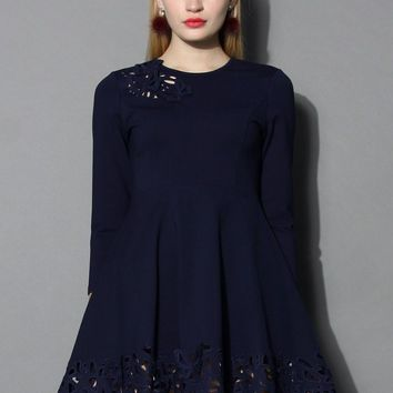 Grace Butterflies Cutout Dress in Navy
