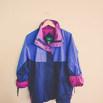 90's Windbreaker Navy blue Periwinkle Magenta Purple Jacket Coat Women's XL Hipster Preppy Style Active wear Sports  Parachute 80s  Club