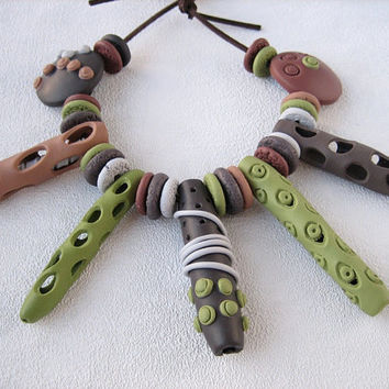 Organic beads rustic style necklace gray green brown art beads polymer clay jewelry hollow beads fancy beads boho chic women jewelry