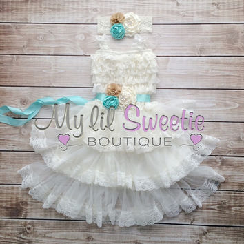 Custom color flower girl 3 tier ivory off white lace dress, flower girl gress, country flower girl, vintage flower girl, rustic flower girl,