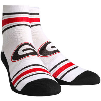 Georgia Bulldogs Classic Stripes Quarter-Length Socks - White