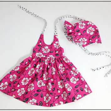 12 to 18 month hot pink floral dress spring dress summer outfit matching hat girls halter dress with sunbonnet boutique outfit girls sunhat