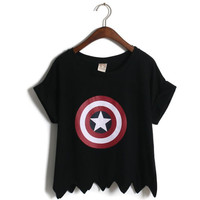 Summer Women Captain America Print T shirts design Crimping sleeve Irregular hem cotton Short tops