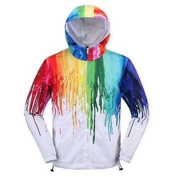 DCCKB62 Art Creative Painting Color Couple fashion Hooded Zipper Cardigan Sweatshirt Jacket Coat Windbreaker Sportswear