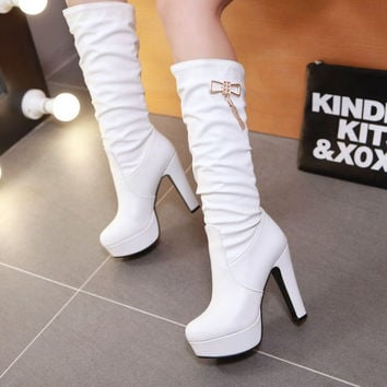 On Sale Hot Deal Winter Waterproof High Heel Metal Decoration Plus Size Boots [6366197956]