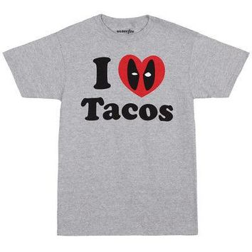 Deadpool I Heart Tacos Logo Marvel Comics Licensed Adult Unisex T-Shirts - M