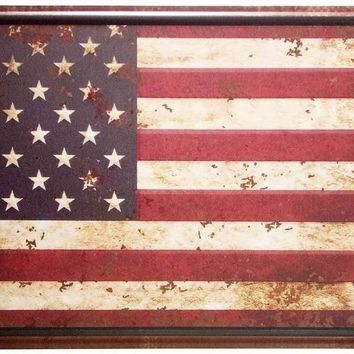 ERLOOD American Flag Logo Retro Vintage Auto License Plate Tin Sign Embossed Tag Size Home Pub Bar Decor 6 X 12