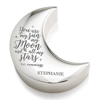 Personalized Silver Half Moon Jewelry Box - My Sun Moon and Stars Etching (Pack of 1)