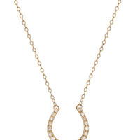 Lord & Taylor 14K Yellow Gold and Diamond Horse Shoe Necklace