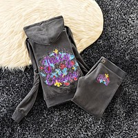 Juicy Couture Studded Colorful Flowers Velour Tracksuit 6023 2pcs Women Suits Dark Grey