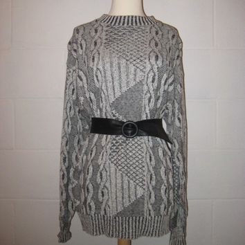 Vintage 80s Gray Pullover Sweater / Geometric Color Block Jumper Sweater / Unisex / M / L / Cotton Sweater