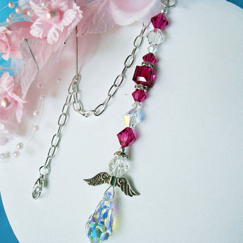 Hot Pink Rear View Mirror Charm Swarovski Pink Crystal Guardian Angel Car Ornament Accessory