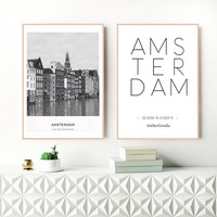 Netherlands Amsterdam Landscape Photo Canvas Painting Wall Art Picture , City Poster Amsterdam Coordinates Canvas Prints