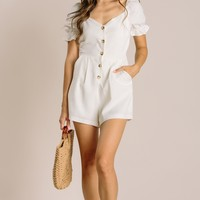 Taylor Puff Sleeve Button Romper