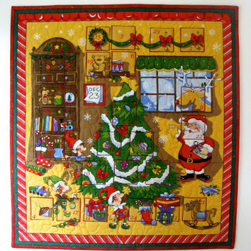 Advent Calendar Quilted Whimsical Wall Hanging Santas Workshop
