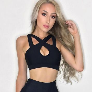 One-nice™ The new holes crossover shouldered with hollowed-out yoga vest bra black top