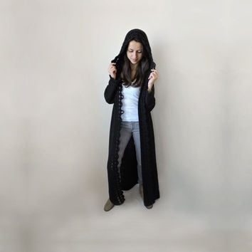 FREE SHIPPING Hooded cardigan Duster coat Extra long sweater Long sleeve knit overcoat Wool Crochet hem Graphite black Dark gray cardigan