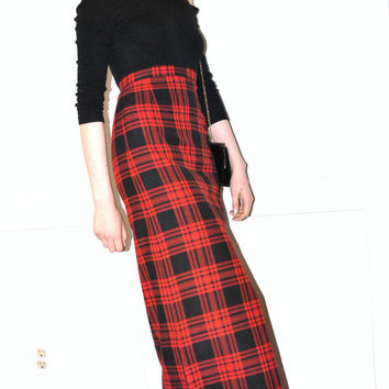 red tartan plaid punk rock side slit high waisted maxi skirt small