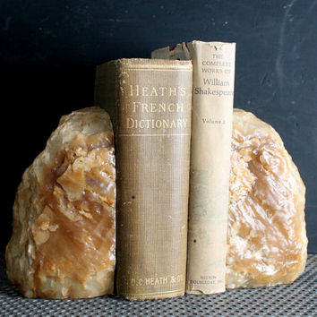 Large Heavy Vintage Geode Agate Rock Bookends, Natural Quartz Mineral Paperweights
