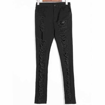 Skinny Ripped High Waisted Jeans - Black 42